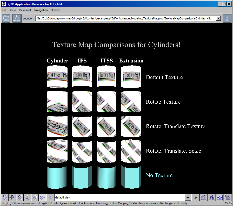 X3D for Advanced Modeling Examples Archive, Texture Mapping Texture Mapping on